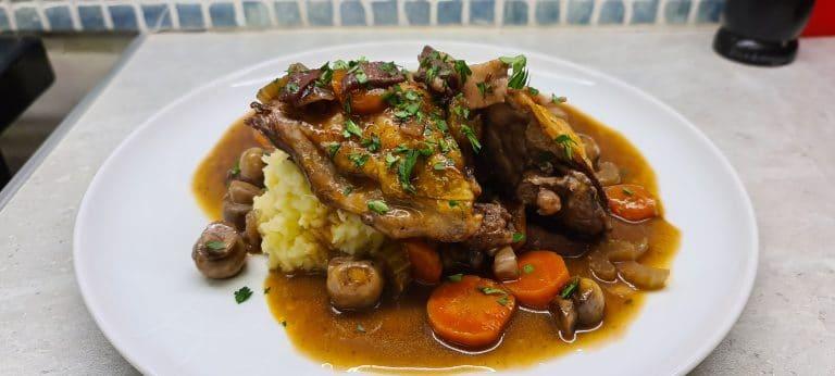 Easy Coq au Vin with Potato and Celeriac Mash
