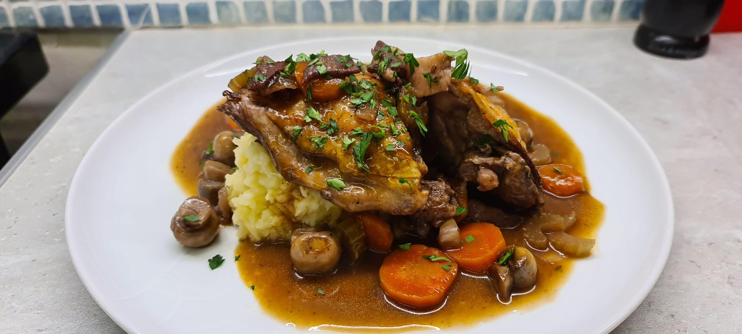 Easy Coq au Vin with Potato and Celeriac Mash