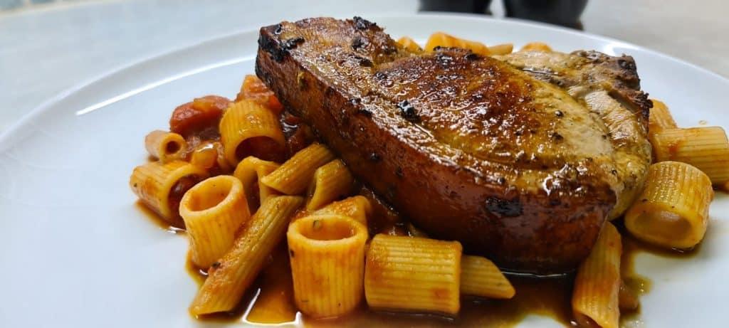 Chilli Pork Chop with Pasta Arrabiata