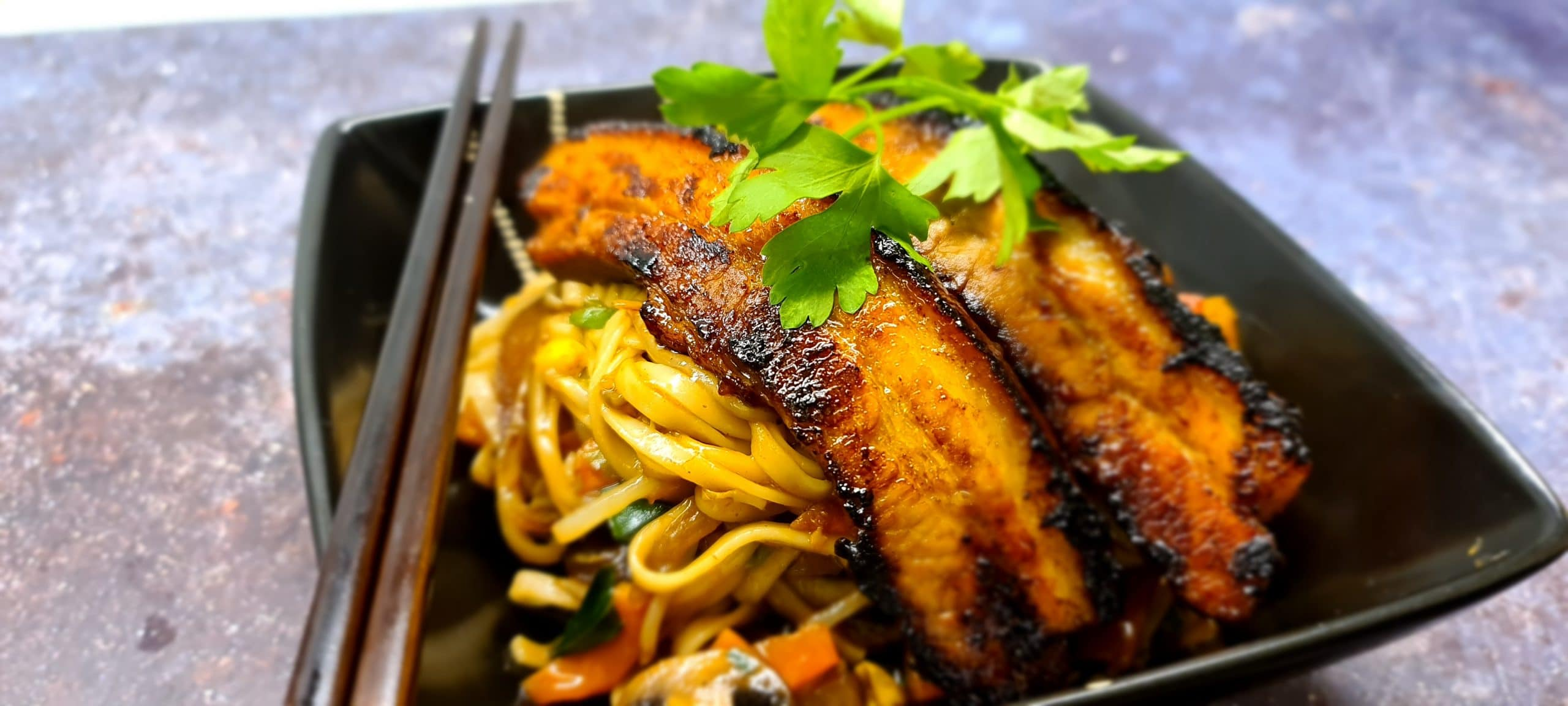 Stir Fry Udon Noodles with Char Siu Pork