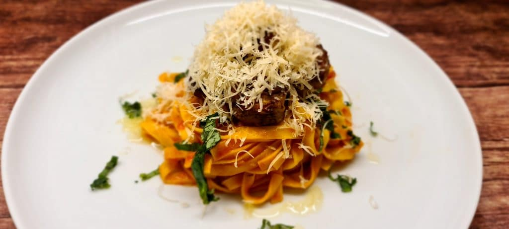 Pork and Beef Meatballs with Tagliatelle and Tomato and Basil Sauce