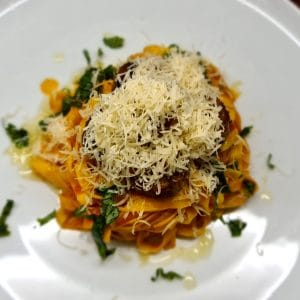 Meatballs with Tagliatelle and Tomato and Basil Sauce