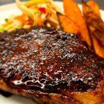 Teriyaki Steaks with Fennel Slaw and Sweet Potato Wedges