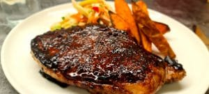 Teriyaki Steak with Fennel Slaw and Sweet Potato Wedges