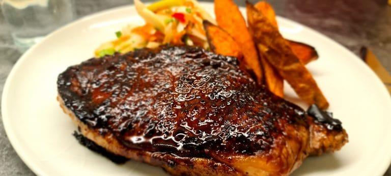 Teriyaki Steak with Fennel Slaw and Sweet Potato Wedges
