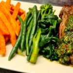 Flank steak with sweet potato fries and Chimichurri sauce
