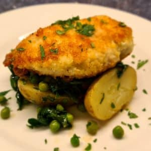 Parmesan Chicken Breast with a new potato, spinach and pea warm salad